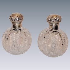 """WOW!!! Matching Pair of 6"""" Antique American DEEPLY CUT Brilliant Cut Glass Oval Cologne/Perfume Bottles ~ Exceptional Clear and Beautiful Cut Glass w/ Sterling Tops~ Original Condition ~Collector Pieces"""
