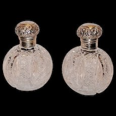 "WOW!!! Matching Pair of 6"" Antique American DEEPLY CUT Brilliant Cut Glass Oval Cologne/Perfume Bottles ~ Exceptional Clear and Beautiful Cut Glass w/ Sterling Tops~ Original Condition ~Collector Pieces"