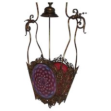 WOW!! RARE EXTRAORDINARY Victorian Cranberry Opalescent Hobnail Pendant Hall Gas Light Fixture~Late1800's~  Later Electrification