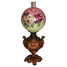 RARE EXCEPTIONAL Double Handled Figural Cherubs  Banquet Lamp ~Wonderful Old Original Hand Painted Shade with ROSES~Original Parts ~ Master Artistry
