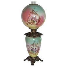 """LARGE Gone with the Wind Oil Lamp ~10 1/2"""" SHADE~Masterpiece Breathtaking BEAUTY WITH HAND PAINTED Violets ~ Outstanding Fancy Ornate Font Spill Ring and Base~ Original Condition ~Original Parts"""