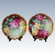 "Museum Quality ~RARE PAIR of LARGE Antique Limoges France Hand Painted Porcelain Wall Chargers, 13 1/2"" Plaques~Masterpiece Breathtaking BEAUTIES WITH HAND PAINTED ROSES ~ Artist signed  ""A. Frugier"" ~ Coiffee Factory ca. 1891 -1914 ~Collector Pieces"