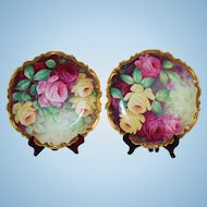 """Museum Quality ~RARE PAIR of LARGE Antique Limoges France Hand Painted Porcelain Wall Chargers, 13 1/2"""" Plaques~Masterpiece Breathtaking BEAUTIES WITH HAND PAINTED ROSES ~ Artist signed  """"A. Frugier"""" ~ Coiffee Factory ca. 1891 -1914 ~Collector Pieces"""