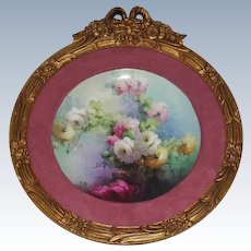 Breathtaking HUGE HAND PAINTED ROSES Porcelain Plaque ~OUTSTANDING HAND CARVED ANTIQUE FRENCH FRAME ~ Museum Quality Masterpiece Limoges France Stunning Still Life Painting on Porcelain ~ Haviland Circa 1894 – 1931.