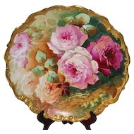 """Phenomenal HUGE Antique Limoges 15 3/4"""" Hand Painted Rococo Wall Charger Plaque ~  SIGNED by the Listed Artist, """"SOLIS"""" ~ Limoges Art Porcelain Co. Factory, dated after 1891"""