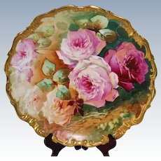 "Phenomenal HUGE Antique Limoges 15 3/4"" Hand Painted Rococo Wall Charger Plaque ~  SIGNED by the Listed Artist, ""SOLIS"" ~ Limoges Art Porcelain Co. Factory, dated after 1891"