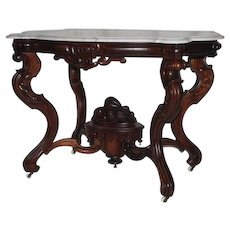 WOW! Outstanding ANTIQUE 1860's Rococo Rosewood  Marble Top Victorian Center Table ~ Made by  Mitchell & Rammelsberg for W. P. Huffman ~ Large Carved Basket of Fruit and Flowers
