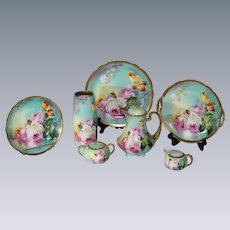 """OUTSTANDING French Limoges TEA ROSES Antique 8 Piece Service Set ~ All Artist Signed by the VERY FAMOUS Listed Artist """"DUVAL"""" ~ Completely Handpainted Handmade Artistry CLASSICAL FRENCH STILL LIFE With ROSES"""