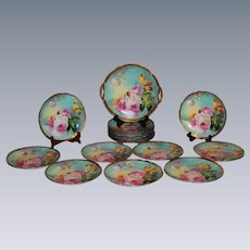 """OUTSTANDING LIMOGES French Tea Roses Antique 19 Piece Lunch or Desert Service Set ~ All Artist Signed by the VERY FAMOUS Listed Artist """"DUVAL"""" ~ Completely Handpainted Handmade Artistry CLASSICAL FRENCH STILL LIFE With ROSES"""