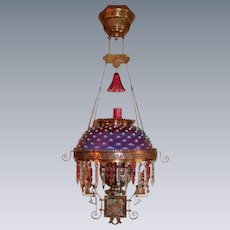 WOW!  Outstanding Victorian Hanging Library Kerosene Banquet Lamp ~ VERY RARE Charles Parker Frame ~ Outstanding Cranberry Opalescent  Shade~ Original Condition ~Original Parts
