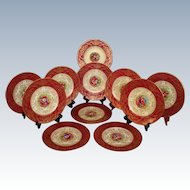 "Museum Quality ~ Rare 11 Piece Antique 1890 Royal Worcester English 10 3/4"" Dinner Plate Set ~ 100% Hand Painted, Raised 18k Gold Enamel  ~ Signed by the FAMOUS Listed Artist E. Phillips"