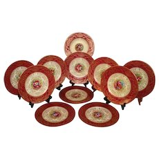 """Museum Quality ~ Rare 11 Piece Antique 1890 Royal Worcester English 10 3/4"""" Dinner Plate Set ~ 100% Hand Painted, Raised 18k Gold Enamel  ~ Signed by the FAMOUS Listed Artist E. Phillips"""