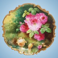 """OUTSTANDING  Coronet LIMOGES French Tea Roses ANTIQUE PLAQUE ~ Listed Artist """"DUVAL"""" ~ Original Completely Hand Painted"""