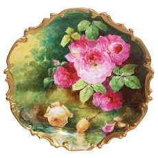 "OUTSTANDING  Coronet LIMOGES French Tea Roses ANTIQUE PLAQUE ~ Listed Artist ""DUVAL"" ~ Original Completely Hand Painted"