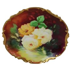 "Stunning Antique Hand Painted Limoges Wall Plaque Charger ~ Breathtaking ROSES ~ Museum Quality Masterpiece Still Life Painting One-of-a-Kind Floral French Painting on Porcelain w Elegant Rococo Border ~ Artist Signed ""A. Marty"""