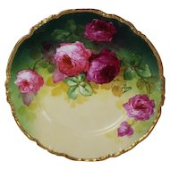 """WOW!! OUTSTANDING JPL LIMOGES French Tea Roses ANTIQUE 9 3/4"""" Dinner Plate ~ Listed Artist """"Segur"""" ~ Original Completely Hand Painted ~ BEAUTIFUL!!"""