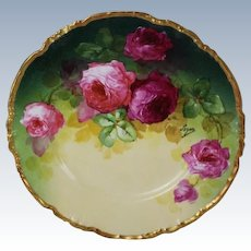 "WOW!! OUTSTANDING JPL LIMOGES French Tea Roses ANTIQUE 9 3/4"" Dinner Plate ~ Listed Artist ""Segur"" ~ Original Completely Hand Painted ~ BEAUTIFUL!!"