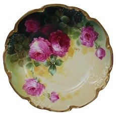 """WOW!! OUTSTANDING JPL LIMOGES French Tea Roses ANTIQUE 8 3/4""""  Plate ~ Listed Artist """"Segur"""" ~ Original Completely Hand Painted ~ BEAUTIFUL!!"""