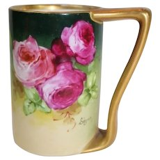 "WOW!! OUTSTANDING JPL LIMOGES French Tea Roses ANTIQUE Coffee Mug ~ Listed Artist ""Segur"" ~ Original Completely Hand Painted ~ BEAUTIFUL!!"