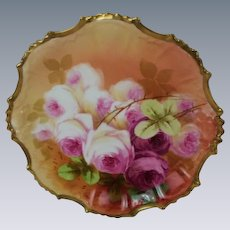 "BEAUTIFUL B&H LIMOGES French Tea Roses ANTIQUE 9 ½"" Plate ~ Listed Artist ""Sena"" ~ Completely Hand Painted Original ~ BEAUTIFUL!!"
