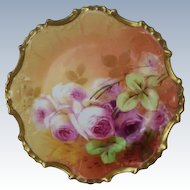"BEAUTIFUL B&H LIMOGES French Tea Roses ANTIQUE BEAUTIFUL B&H LIMOGES French Tea Roses ANTIQUE 6"" Plate ~ Listed Artist ""Sena"" ~ Completely Hand Painted Original"