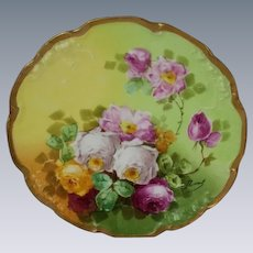 "Truly Magnificent Antique Limoges France Fancy Plate~ Breathtaking Hand Painted Roses ~ Museum Quality ~ Masterpiece Painting ~ Signed by the Artist ""Duval"" ~ Superb Artistry Jean Pouyat JPL Circa 1890 – 1932."