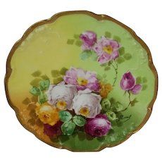 """Truly Magnificent Antique Limoges France Fancy Plate~ Breathtaking Hand Painted Roses ~ Museum Quality ~ Masterpiece Painting ~ Signed by the Artist """"Duval"""" ~ Superb Artistry Jean Pouyat JPL Circa 1890 – 1932."""