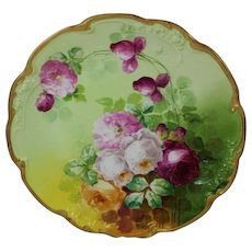"""WOW!! RARE & TRULY MAGNIFICENT HUGE Antique Limoges 14"""" Charger Wall Plaque ~ Breathtaking Hand Painted Roses ~ Museum Quality ~ Masterpiece Painting ~ Signed by the Artist """"Duval"""" ~ Superb Artistry Jean Pouyat JPL Circa 1890 – 1932."""