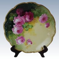 """WOW!! OUTSTANDING JPL LIMOGES French Tea Roses ANTIQUE 11 3/4"""" Charger Tray ~ Listed Artist """"Segur"""" ~ Original Completely Hand Painted ~ BEAUTIFUL!!"""