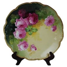 "WOW!! OUTSTANDING JPL LIMOGES French Tea Roses ANTIQUE 11 3/4"" Charger Tray ~ Listed Artist ""Segur"" ~ Original Completely Hand Painted ~ BEAUTIFUL!!"