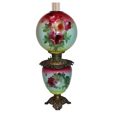OUTSTANDING Gone with the Wind Kerosene Banquet Lamp ~Masterpiece Breathtaking BEAUTY WITH ROSES~ Outstanding Fancy Ornate Font Spill Ring and Base~ Original Condition ~Original Parts ~ Collector Piece ~ Master Artistry