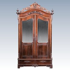 American 1850's Rococo Rosewood Armoire~Outstanding Carvings ~ Magnificent Piece of Fine Antique Furniture ~ Attributed to Mallard