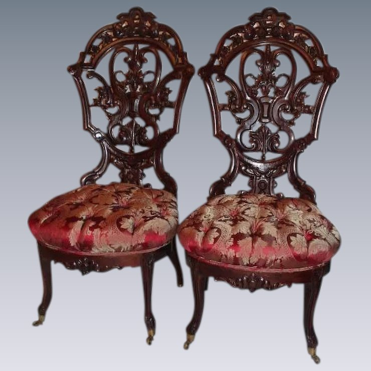Outstanding PAIR of Meeks Rosewood Rococo Victorian Parlor Chairs ~ Circa  1850's ~ New York City - Outstanding PAIR Of Meeks Rosewood Rococo Victorian Parlor Chairs