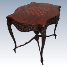 WOW! VERY RARE OUTSTANDING 1850's Rococo Rosewood Inlaid Victorian Game Table attributed to J. & J. Meeks