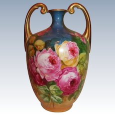 """The BEST of the BEST Vibrant Limoges Muscle Vase ~ Wonderful Hand Painted ROSES  ~Artist Signed""""Leona"""