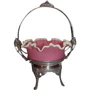 """Museum Quality ~ RARE LARGE Antique Aesthetic 1880'S  James W. Tufts Victorian Brides Bowl & Basket ~ Outstanding Hand Blown """"Satin Laced"""" Bowl In Original Quadruple Plate Silver Plate Frame ~ Collectors Dream Piece"""