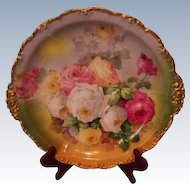 """Magnificent Antique Limoges France 14"""" Large Charger Tray~ Breathtaking Hand Painted Roses ~ Museum Quality ~ Masterpiece Painting ~ Signed by the FAMOUS Artist """"Duval"""" ~ Superb Artistry Jean Pouyat JPL Circa 1890 – 1932"""
