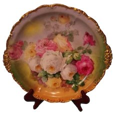 "Magnificent Antique Limoges France 14"" Large Charger Tray~ Breathtaking Hand Painted Roses ~ Museum Quality ~ Masterpiece Painting ~ Signed by the FAMOUS Artist ""Duval"" ~ Superb Artistry Jean Pouyat JPL Circa 1890 – 1932"