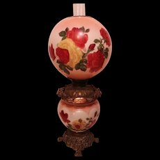 BEAUTIFUL Gone with the Wind Kerosene Banquet Lamp ~Masterpiece Breathtaking BEAUTY WITH ROSES~ Outstanding Fancy Ornate Handled Font Spill Ring and Base~ Original Condition ~Original Parts