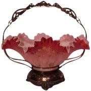 Wonderful Antique Rococo 1880'S Victorian Brides Bowl & Basket ~ Outstanding Hand Blown & Enameled Bowl In Original Quadruple Plate Silver Plate Frame ~ Collectors Dream Piece