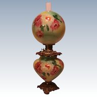 """LARGE Gone with the Wind Oil Lamp ~RARE 11"""" SHADE~Masterpiece Breathtaking BEAUTY WITH HAND PAINTED MUMS~ Outstanding Fancy Ornate Handled Font Spill Ring and Base~ Original Condition ~Original Parts"""