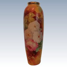 "LARGE 15 1/2"" Outstanding LIMOGES Coronet FRENCH Still Life TEA ROSES Vase~ Artist Signed by the VERY FAMOUS Listed Artist ""DUVAL"" ~ Completely Hand Painted"