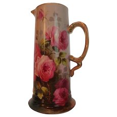 """Magnificent Antique Limoges France Large Tankard Pitcher~ Breathtaking Hand Painted Roses ~ Masterpiece Painting ~ Signed by the Artist """"Duclair"""" ~ Superb Artistry Jean Pouyat JPL Circa 1890 – 1932."""