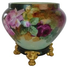 "WOW!! RARE OUTSTANDING T&V LIMOGES Jardiniere with Matching Base Signed by the  Artist ""Kennedy"" ~ Completely Hand Painted ~ Wonderful Colors!!"