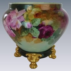 """WOW!! RARE OUTSTANDING T&V LIMOGES Jardiniere with Matching Base Signed by the  Artist """"Kennedy"""" ~ Completely Hand Painted ~ Wonderful Colors!!"""