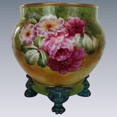 WOW!! RARE OUTSTANDING JPL France LIMOGES Jardiniere with Matching Base ~ Completely Hand Painted ~ Wonderful Colors!!