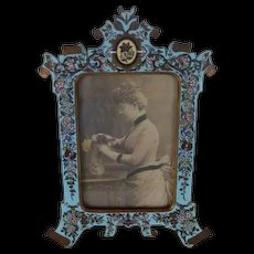 Extremely Rare Champlevé Bronze Photo Frame  ~ Outstanding Hand Painted Enamel ~ Original Condition