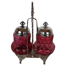 Meriden Double Cranberry Coin Dot Victorian Pickle Castor~ Circa 1890's~Quadruple Silver Plate Frame ~ Original Condition