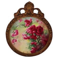"""Breathtaking Large 16"""" JPL Limoges Porcelain Plaque with HAND PAINTED ROSES ~OUTSTANDING HAND CARVED Vintage Carved WOOD Frame ~ Museum Quality Masterpiece Limoges Roses Stunning Still Life Painting on Porcelain ~ Signed by the Artist """"L.M.U"""""""