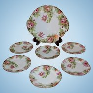 "Beautiful 7 Piece ""Louise"" Series Porcelain Desert Set~ Cake Plate and Six Matching Plates ~ Wonder Roses~J C Bavaria between 1898 and 1916"